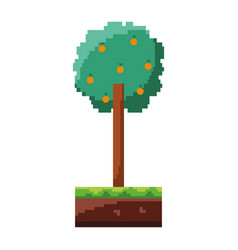 pixelated tree with fruits nature ecology vector image