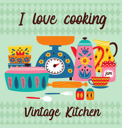 poster with vintage kitchen vector image