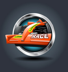 race car steely rounded badge icon for uigame vector image