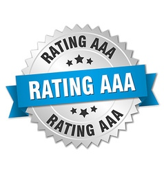 Rating aaa 3d silver badge with blue ribbon vector