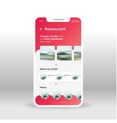 red restaurant menu ui ux gui screen for mobile vector image