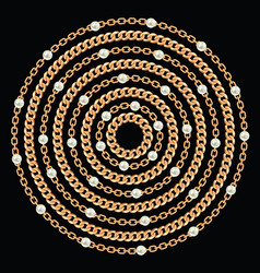 round pattern made with golden chains and pearls vector image