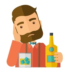 Sad man alone in the bar drinking beer vector image