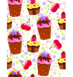 seamless decorative pattern with muffins and vector image