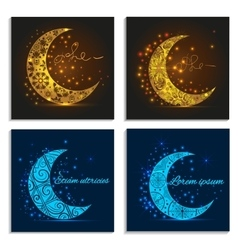 Set greeting cards with decorative crescent vector