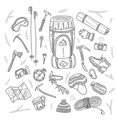 Set of climbing equipment drawn in ethnic boho vector