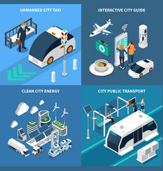 smart city concept icons set vector image