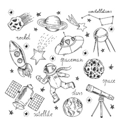 Space Hand Drawn Elements Set vector