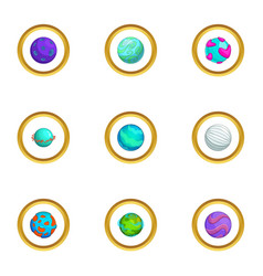 Space planet icons set cartoon style vector