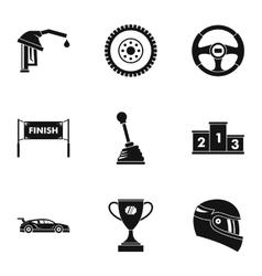 Speed race icons set simple style vector image vector image