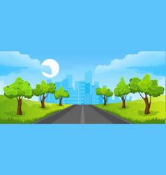 summer landscape with city vector image