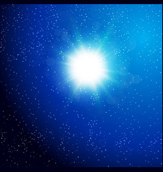 sun view from the galaxy space background vector image