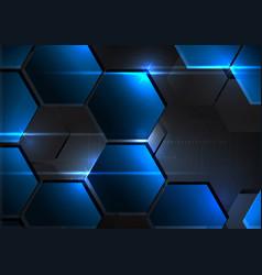 Technological metal hexagon abstract background vector
