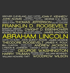 The tag cloud showing names all presidents vector