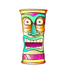 tiki idol carved wood crazy laugh totem color vector image