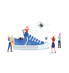 tiny characters around huge sneaker frightened vector image