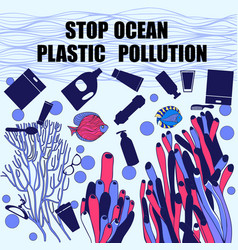 Underwater world sea life composed plastic vector