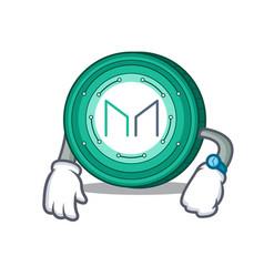 Waiting maker coin mascot cartoon vector