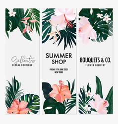 watercolor hibiscus tropical jungle vertical vector image