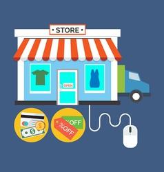 Web store Online shop concept Flat design stylish vector image