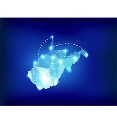 West Virginia state map polygonal with spot lights vector image