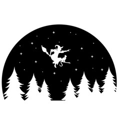 Witch flying on a broomstick at night black and vector