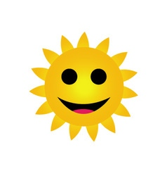 Bright yellow sun smiling vector image