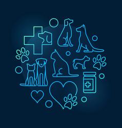 colorful veterinary hospital circular symbol vector image vector image