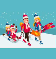 Family snow skiing people isometric cartoon vector