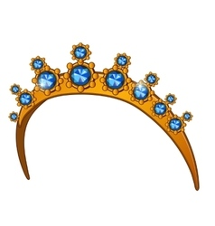 Golden crown with sapphires womens head accessory vector image vector image