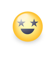 happy laughing emoji face with eyes in the form vector image vector image