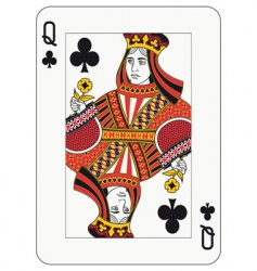 queen of clubs vector image