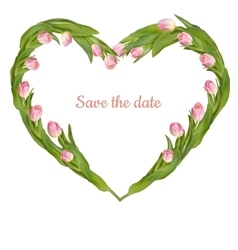Save the date card with tulip EPS 10 vector image