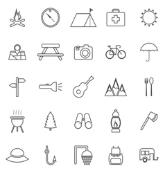 Camping line icons on white background vector image vector image