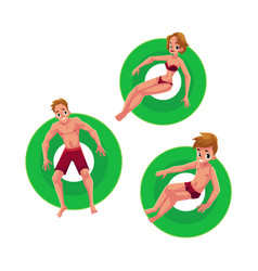 caucasian girl woman man and boy floating on vector image vector image