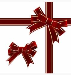 christmas red ribbon with bow vector image vector image