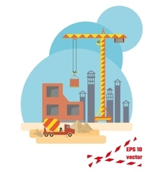 Construction site flat style vector image vector image