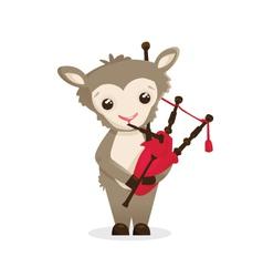 Musical animals Sheep bagpipes vector image