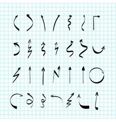 Scribble hand-drawn arrows design set vector image vector image