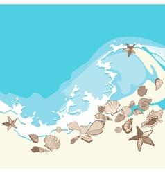 Shells and starfishes on sand background vector image vector image