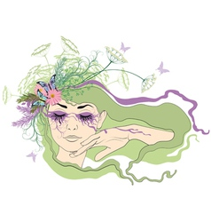 Woman with eyes closed vector image