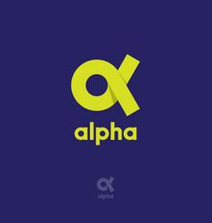 alpha logo origami emblem ribbon vector image