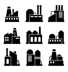 Factory and Power Industrial Building Icon Set vector image vector image
