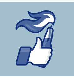 LikeThumbs Up symbol icon with Molotov cocktail vector image vector image
