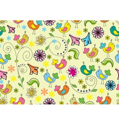 seamless background with cute birds vector image vector image