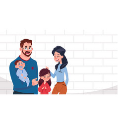 young family parents with two kids daughter and vector image