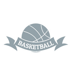 basketball logo simple gray style vector image