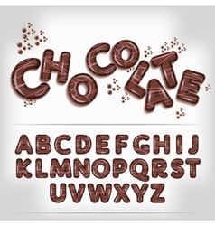Dark chocolate candy alphabet vector image vector image
