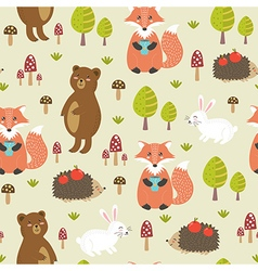 Forest seamless pattern in childish style vector image vector image