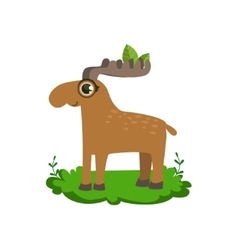 Moose friendly forest animal vector